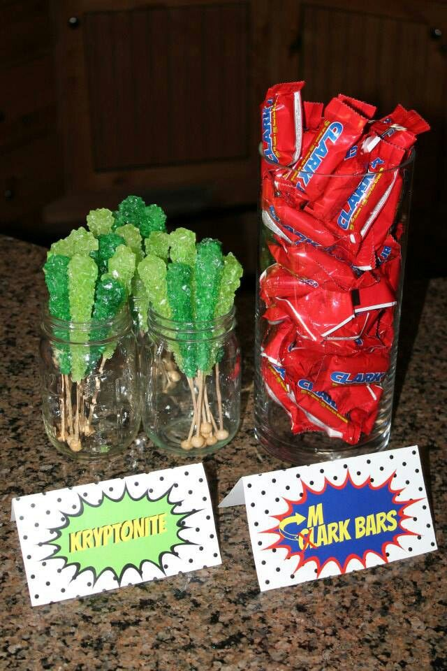 Superman baby shower kryptonite sticks & Clark bars too cute @Kristina Cruz