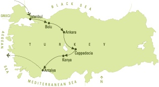 Escorted Tour - ANATOLIAN CROSSROADS 7 Nights     Departure Day : Sunday   Start City : Istanbul   End City : Antalya    Istanbul - Bolu - Ankara - Cappadocia - Konya - Antalya - Aspendos - Perge    10 Day tour through Istanbul, Cappadocia and Antalya. This tour is designed for the traveler who has been to Ephesus and now wants to explore other ancient civilizations of Anatolia, such as the Hittites.