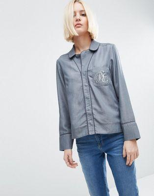 Джинсовая блузка в пижамном стиле с вышивкой на кармане ASOS