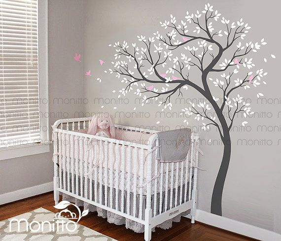 Natural Tree, White Tree Decal,Birds Wall Decals,Nursery Decal,Large Wall Decal,Kids Room,Wall Art Decor,Wall Mural Sticker [MT030]