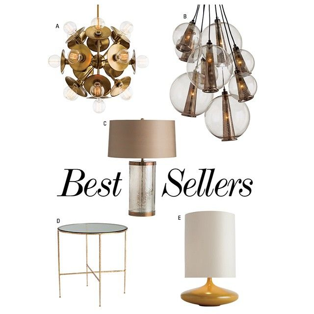 Arteriors bestsellers at a keegan small chandelier b caviar adjustable medium cluster c mandel lamp d winchester side table e