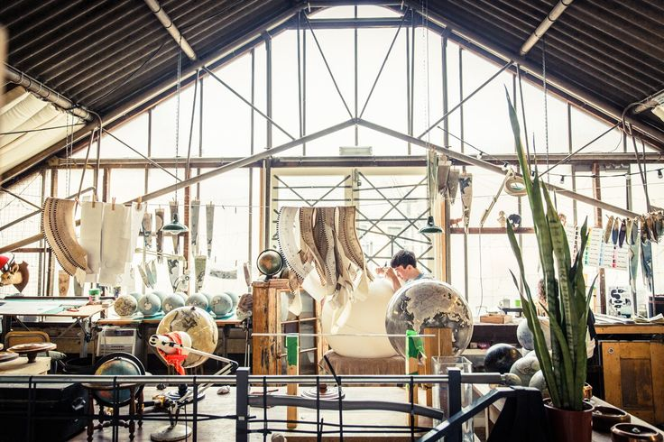Bellerby and Co Globe Makers Art Studio - Warehouse - Atelier - Big Windows - Design - Bespoke Handmade Modern and Traditional World Globes.