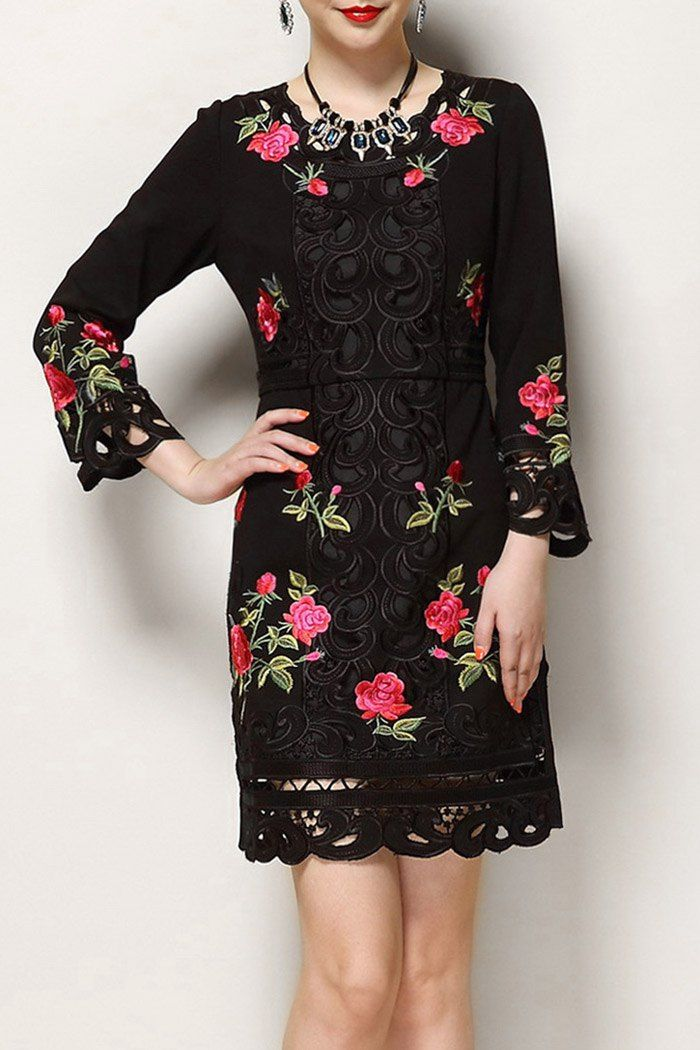 Shop wordeyige black embroidered fitted long sleeve dress here, find your mini  dresses at dezzal, huge selection and best quality.