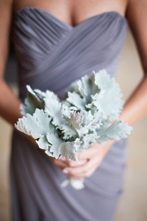 Dusty Miller Bouquet and Slate Bridesmaid Dress   Gina Meola Photography   See More: http://heyweddinglady.com/dusk-and-copper-modern-metall...