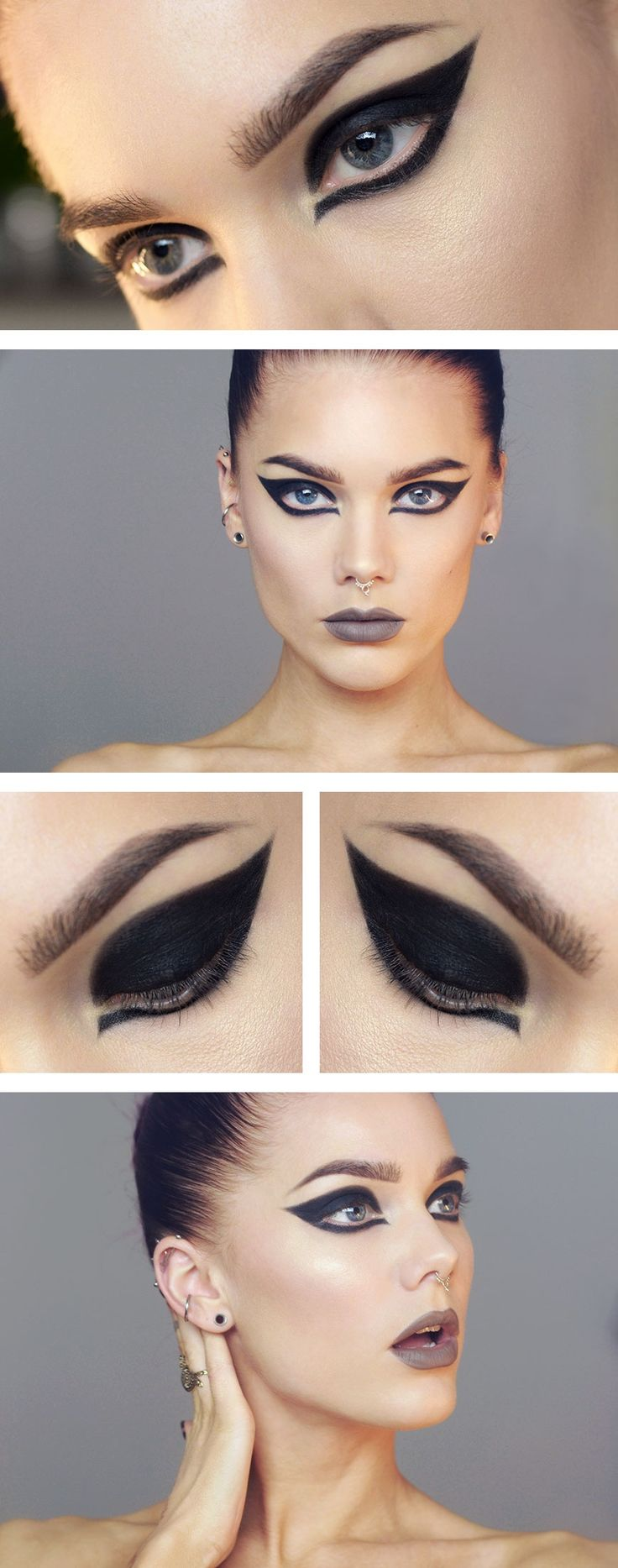 NOTES: I think the strong winged eyeliner would be really effective if adapted to suit my designs.
