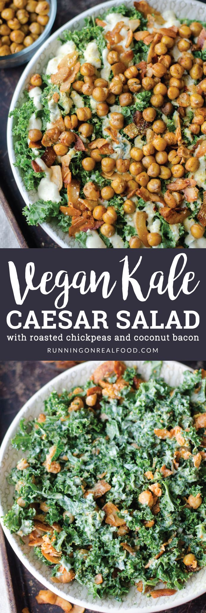 The vegan kale caesar salad with roasted chickpeas and coconut bacon is healthy, gluten-free and tastes incredible. So many textures and flavours! Easy to make with simple ingredients. Dressing is tofu based, nut-free and oil-free.