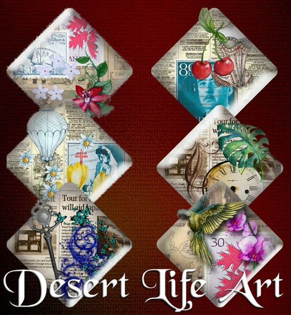 POSTAGE STAMPS Diamonds  Stickers Scrapbooking by DesertLifeArt, $4.50