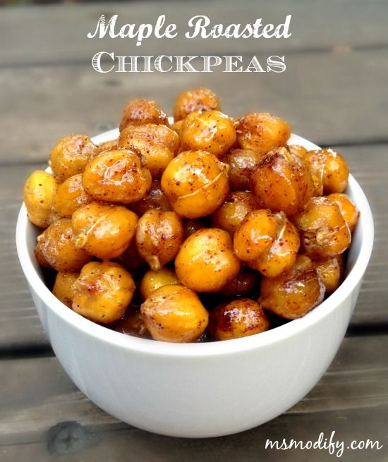 Looking for a healthy, yet sweet snack?! These Maple Roasted Chickpeas hit the spot every time!