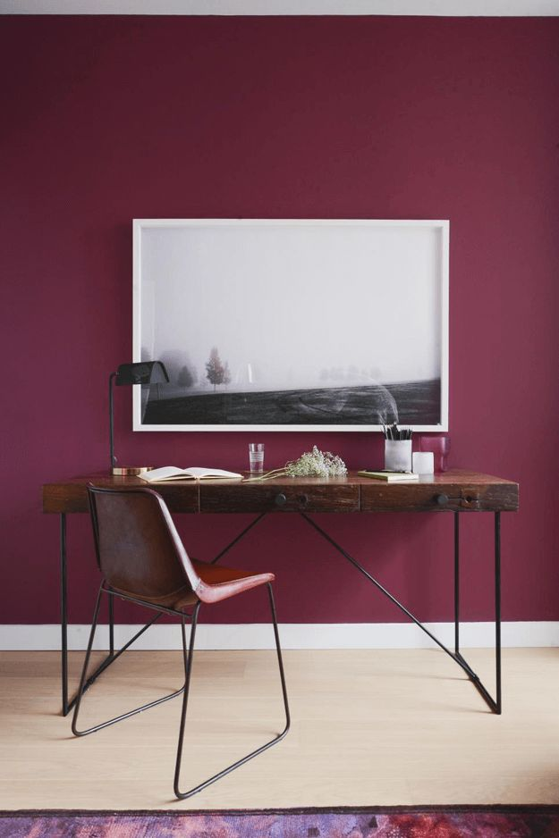 burgundy home office with reclaimed wood desk, wine red, berry red, burgundy, dark cherry red, beet red, maroon, mulberry, garnet, ruby red, pantone tawny port