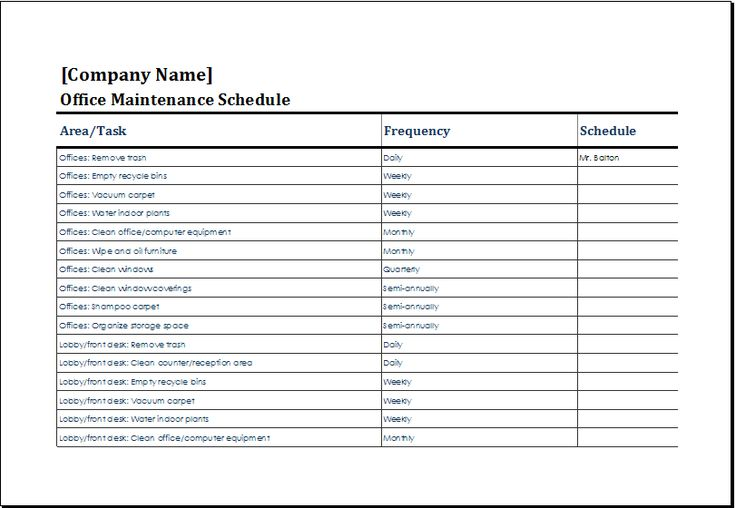 office maintenance schedule template at http://www.xltemplates.org/office-maintenance-schedule/