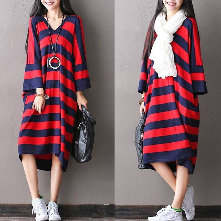 Women V neck autumn loose dress