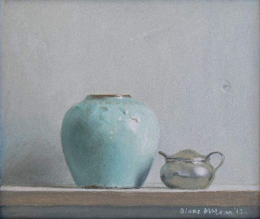 Diane McLean Aquamarine ginger jar and mustard pot (2012), oil on board, 190 x 220 mm.