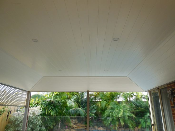 Our customer originally had a patio with open beams. Now they have a beautiful Glosswood lined alfresco