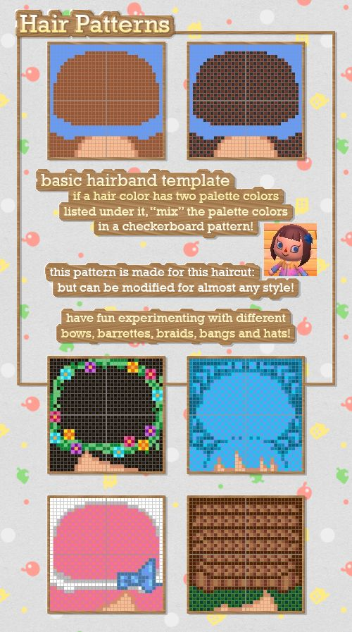 Animal Crossing New Leaf Hair Masterpost - Includes templates for making hairbands as well as a color guide to choosing your character's exact hair color.