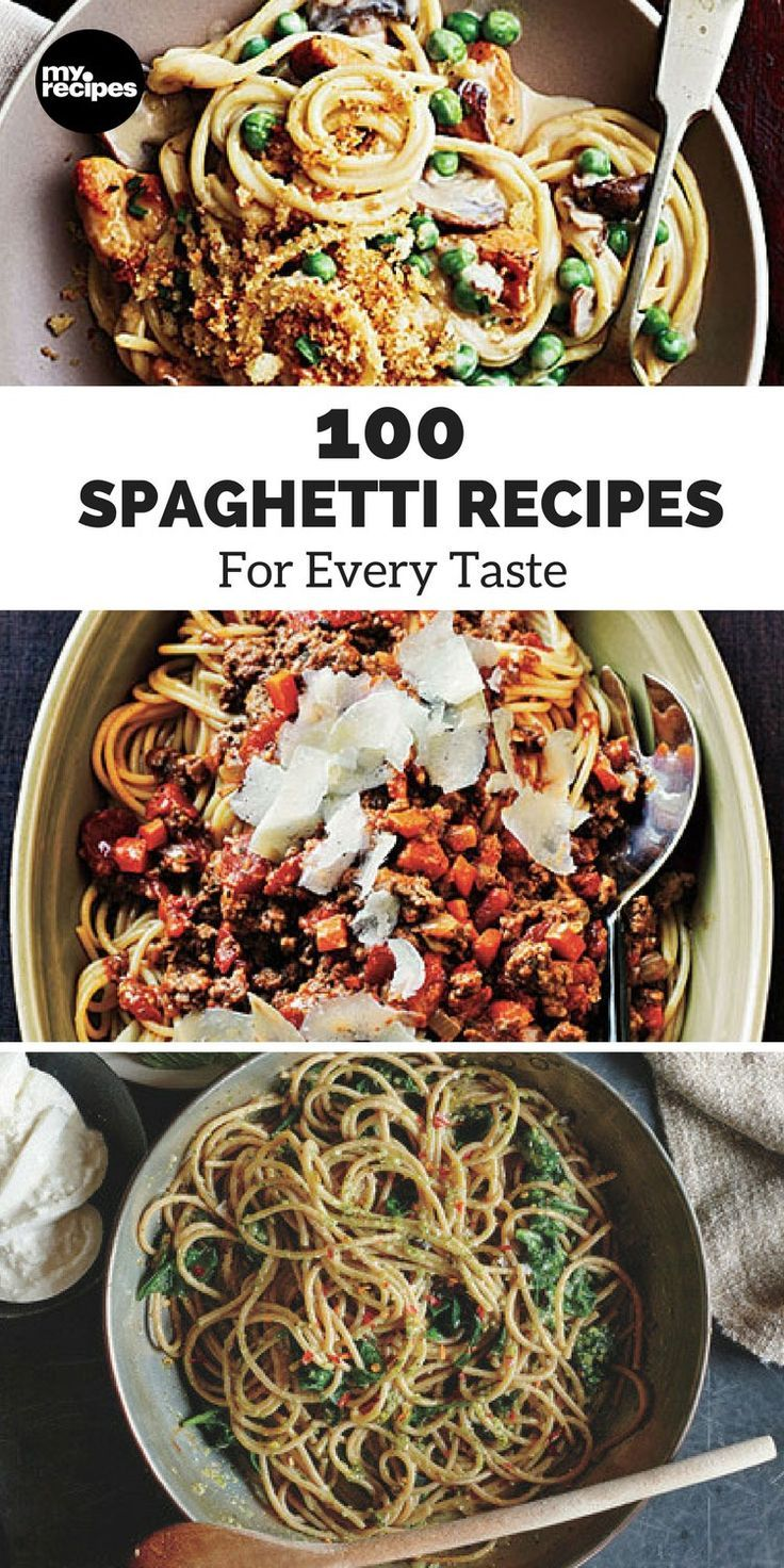100 Spaghetti Recipes for Every Taste   MyRecipes  Think spaghetti recipes mean boring noodles with blah red sauce? Think again. Spaghetti is a super versatile pasta, lending itself to flavorful creations and even a little fun, like our Spaghetti Pie. Whether you prefer the classic Italian dish, a creamy spaghetti recipe, or something more unusual, you'll find your perfect spaghetti recipe right here every time.