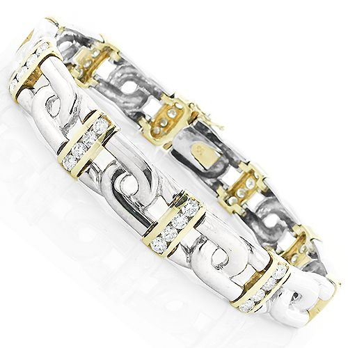 14K White Yellow Gold Mens Diamond Two-Tone Bracelet 4ct