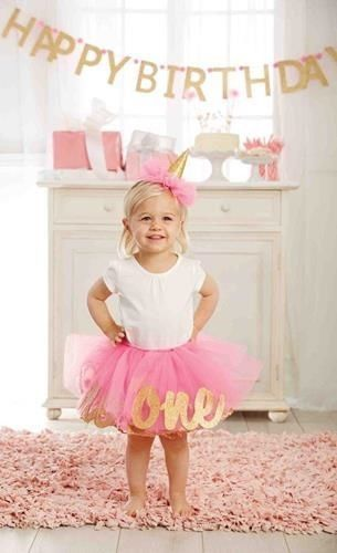 Happy 2nd Birthday! Precious third Birthday Tutu and Matching glitter Birthday Hat set includes pink tutu with glitter gold Two script letters inside tutu mesh and matching pink and gold party hat. Wh