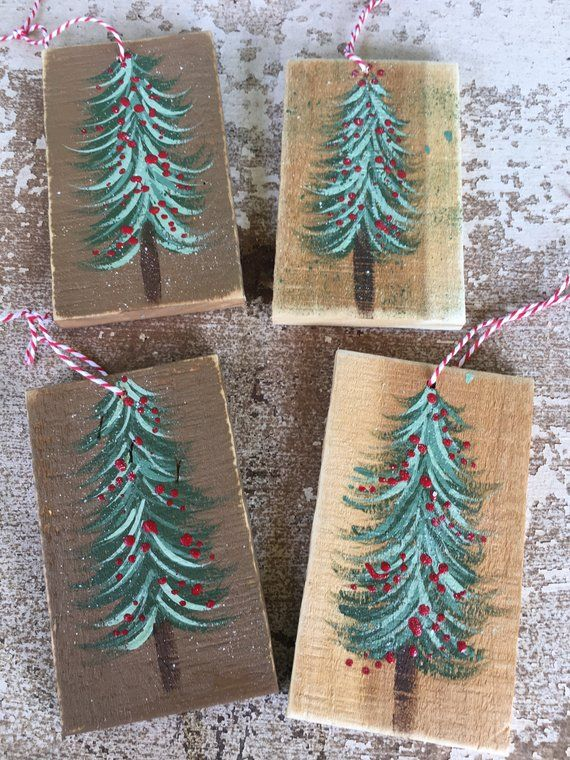 Set Of Four Wooden Christmas Tree Ornaments Rustic Christmas Ornament Set Christmas Ornament Sets Christmas Tree Ornaments Rustic Christmas Ornaments