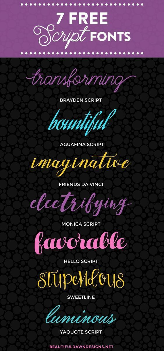 In this font roundup I'm sharing 7 free script fonts. Includes download links for each font.