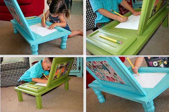 cabinet door art desks. this is genius!: Art Desks, Cute Ideas, Small Desks, Kids Art, Small Spaces, Old Cabinets, Child Art, Cabinets Doors, Doors Art