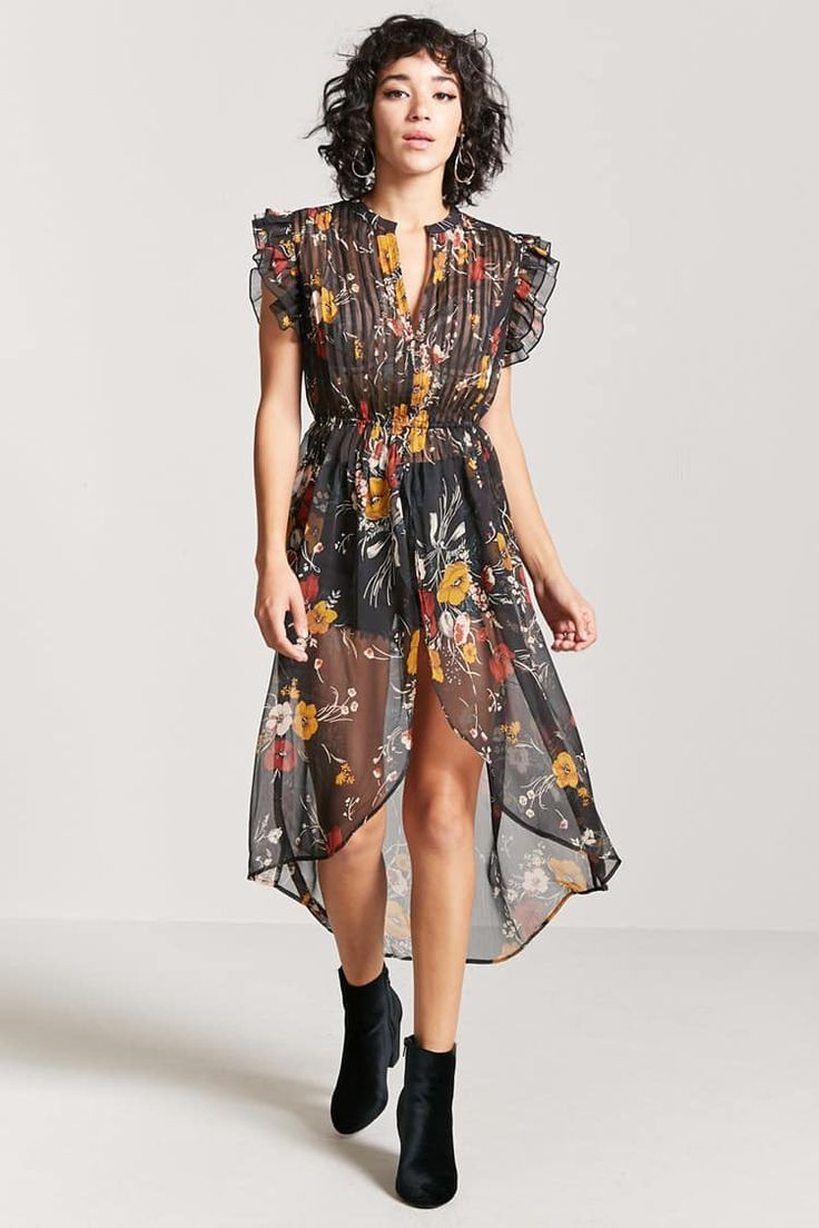 Vestido Transparente Estampado Flores
