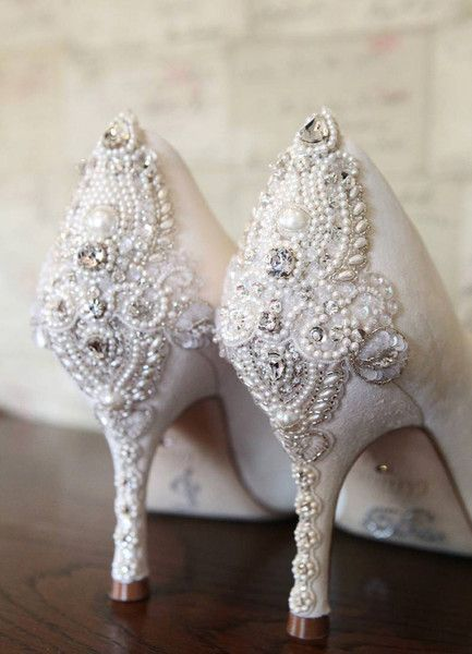 Sexy Wedding Heels...Emmy London's iconic Poppy shoe is made bespoke with a Nadia trim.