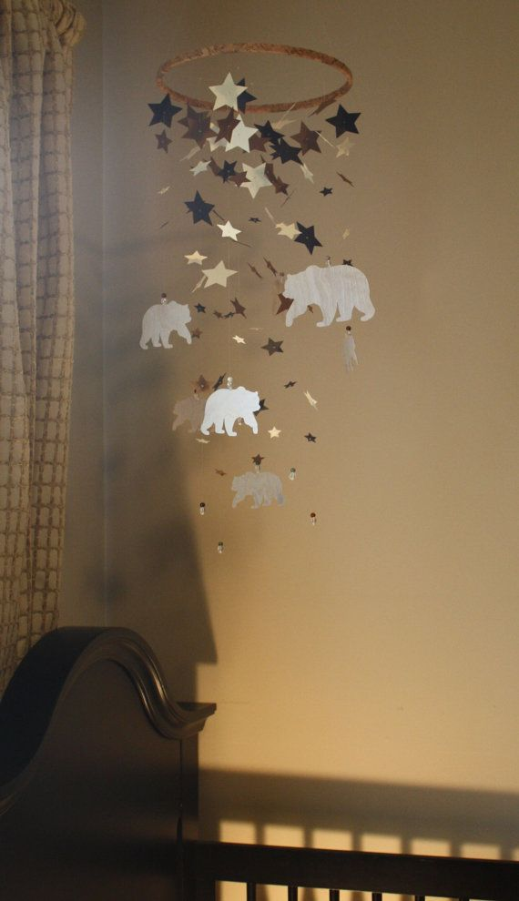 Bear Mobile Birch Wood Mobile Woodland Star by OliviaOliverBaby