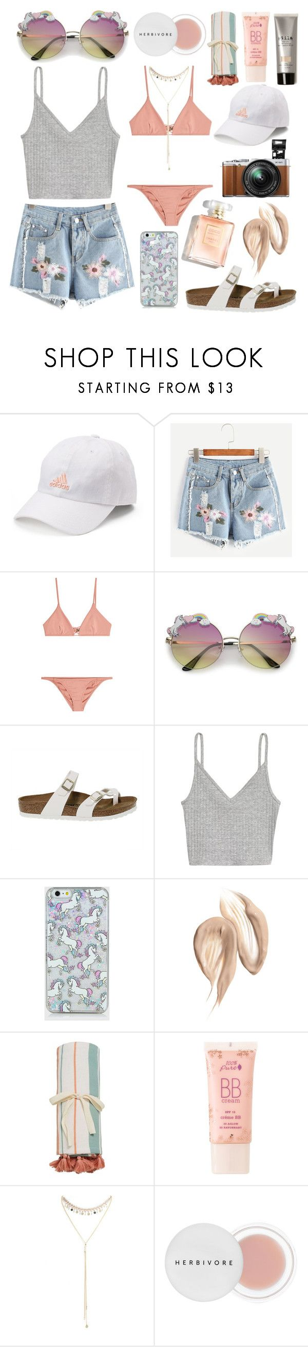 """""""Beachin' with the uniccorns"""" by shanelala ❤ liked on Polyvore featuring adidas, WithChic, Melissa Odabash, Fujifilm, Birkenstock, H&M, MANGO, 100% Pure, South Moon Under and Herbivore"""