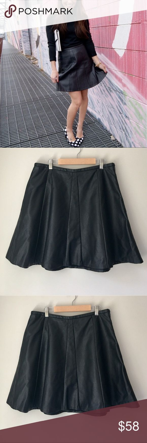 The Limited Black Faux Leather Skater Skirt Stunning black Pieced Faux leather skater skirt by The Limited. Size Medium. Excellent preowned condition. The Limited Skirts
