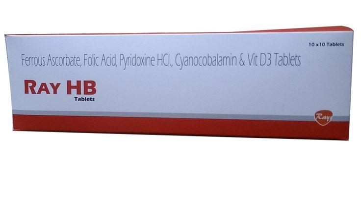 Ferrous Ascorbate 100 mg + Folicacid 1.5 + Pyridoxine 1.5 + Cyanocobalamin 7.5 mcg + Vit D3 1000 IU #ray
