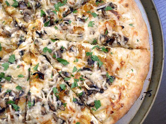 Caramelized Onion & Mushroom White Pizza-Made tonight minus mushrooms plus bacon. Yum and a half!