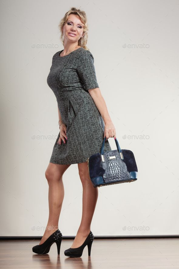 Download Free Mature Business Woman Holds Handbag  Age  -6035