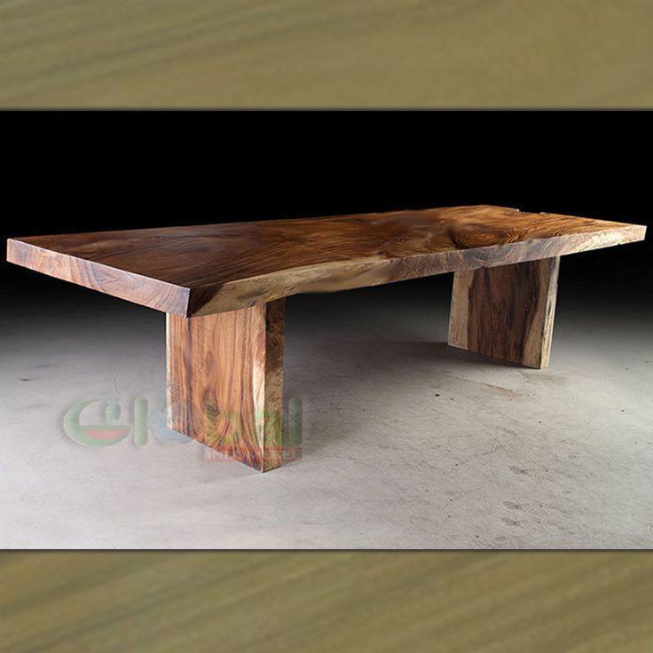 Acacia solid wood slab dining table Natural Live Edge Sustainable  Suar Wood  Furniture - Teak