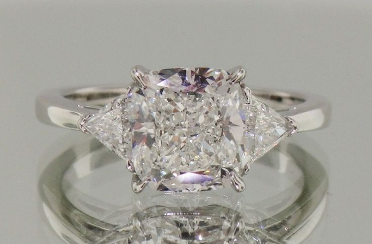 Josh Levkoff - Collection, Rings - 492) Cushion Cut 3 Stone Ring with Trillion Side Stones   Josh Levkoff