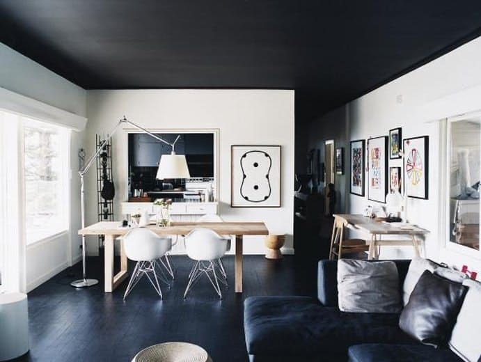 7 Things to Paint Black Today- love the black ceiling!