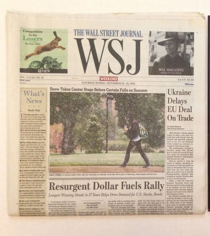 WSJ Wall Street Journal Newspaper Weekend Saturday/Sunday September 13 14 2014