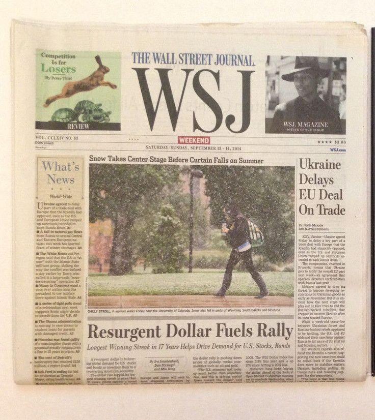 WSJ Wall Street Journal Newspaper Weekend Saturday/Sunday September 13 14 2014