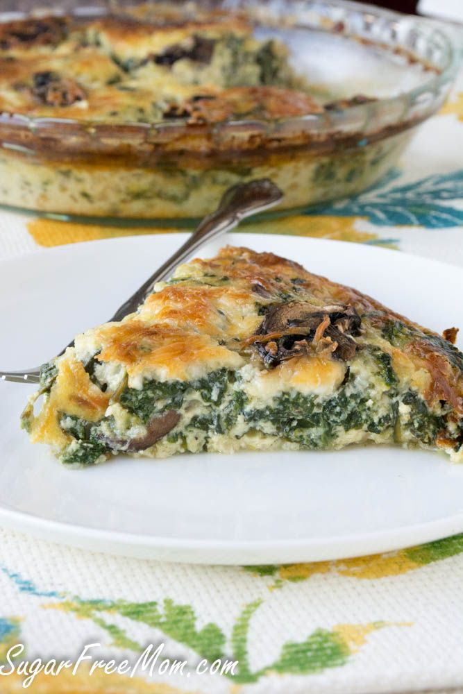 crustless mushroom and spinach pie from sugar free mom - part of a sponsored campaign for Daisy Cottage Cheese.