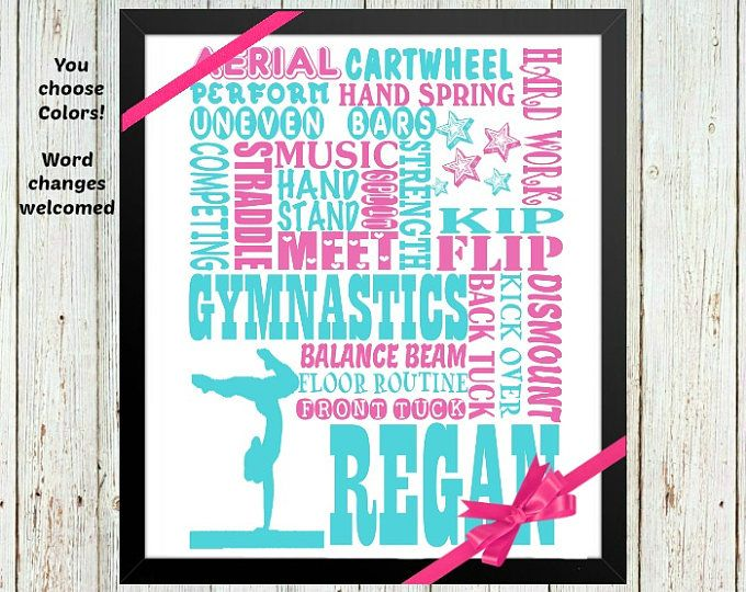 Personalized Gymnastics gifts for girls, gymnastics team gift, girls wall art decor, Gymnastics poster, Gymnastics print