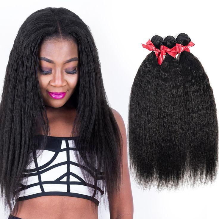 Evet virgen brasileña Kinky cabello liso armadura del pelo 3 unids/lote 6A Yaki armadura del pelo humano sin procesar paquetes armadura brasileña del pelo