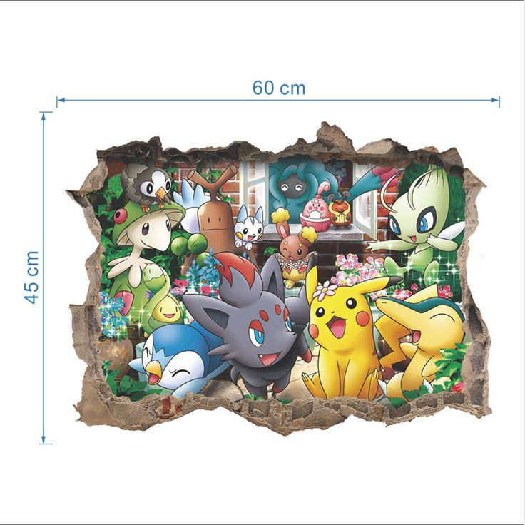 Pokemon Go 3D Through Wall Stickers for Kids Rooms Home Decoration Pikachu Breaking Wall Decal Amine Poster Wall Art paper Kids #Affiliate
