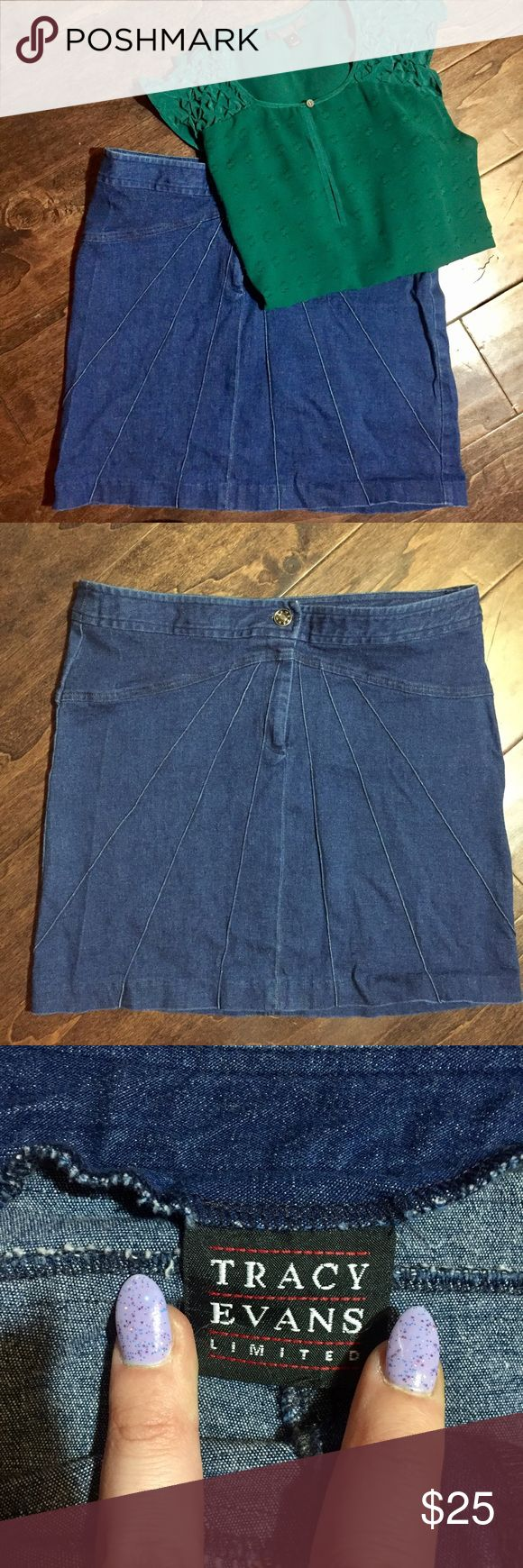 "• Tracy Evans Denim Detail Mini Skirt 90s • Flashback Friday in full effect. This adorable Tracy Evans Limited denim miniskirt bridges the divide between the decades. This can easily be part of your weekend wardrobe.  Measurements taken flat:  15"" waist  16.5"" hip 15.25"" length Tracy Evans Skirts Mini"