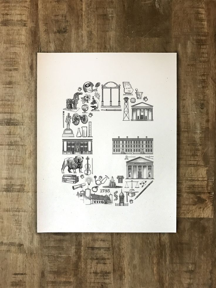 This original illustration of the iconic buildings and symbols representing the University of Georgia in Athens, GA is printed on high quality...