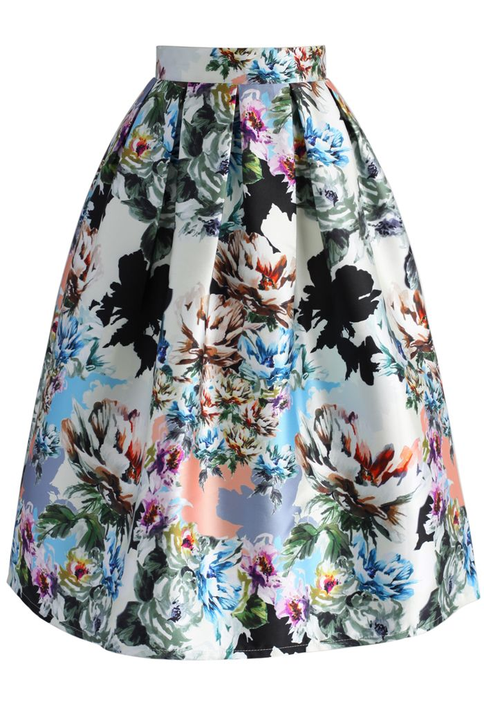 Floral Explosion Printed Midi Skirt - New Arrivals - Retro, Indie and Unique…