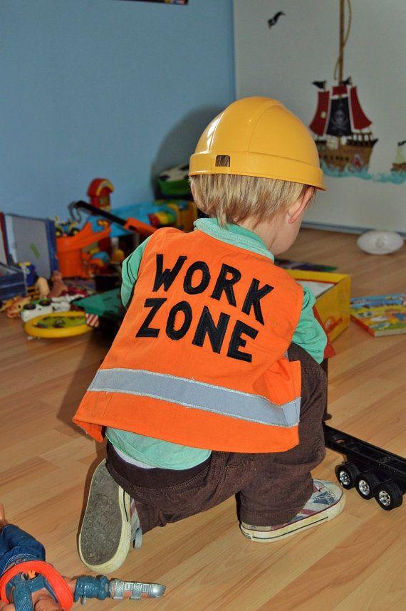 Kids Construction Worker Vest 100% cotton Handmade by TootsAndMe
