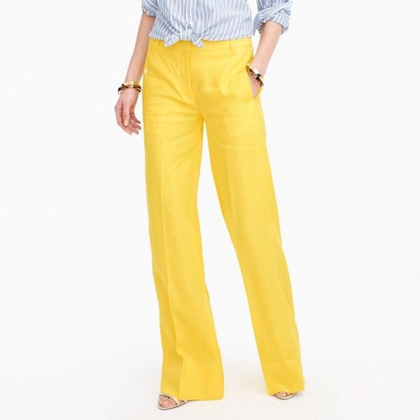 J.Crew Petite Full-Length Linen Pant ($155) ❤ liked on Polyvore featuring pants, white pants, straight leg trousers, white trousers, wet look pants and j crew trousers