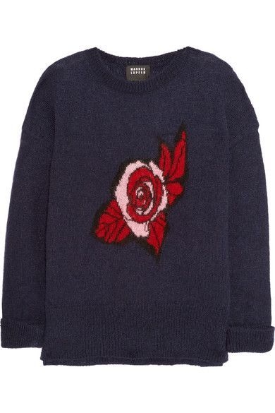 Markus Lupfer - Intarsia Mohair-blend Sweater - Navy