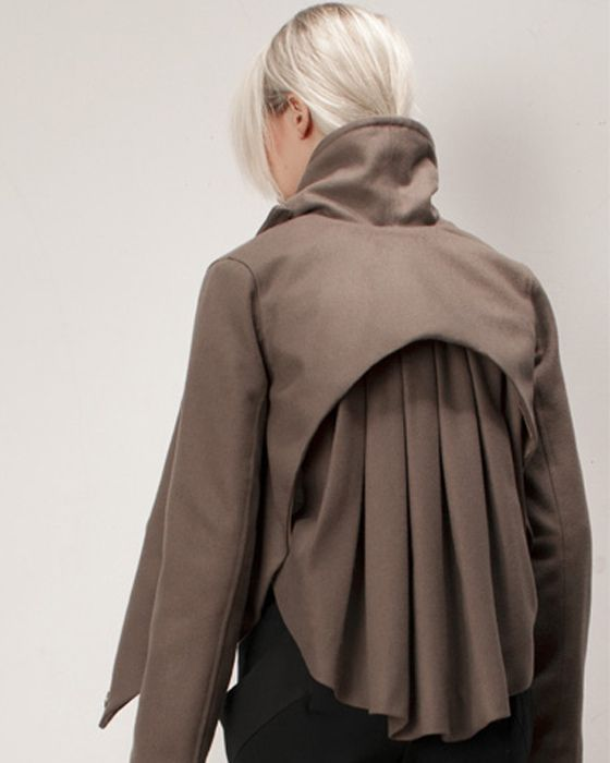 Box Pleat jacket back detail with curved hemline - fabric manipulation; creative garment construction; sewing techniques // Titania Inglis: