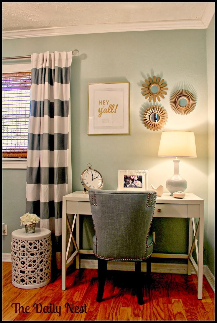 Office makeover | Grey Striped curtains, paint color.