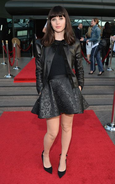 """Actress Felicity Jones arrives to the Los Angeles premiere of A24's """"The Bling Ring"""" at the Directors Guild Theater on June 4, 2013 in Los Angeles, California."""